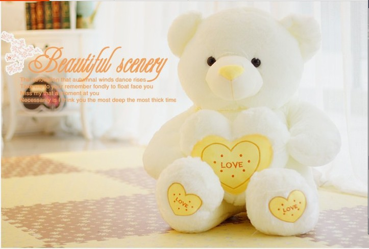 The lovely hug bear doll teddy bear with love heart plush toy doll birthday gift yellow about 80cm