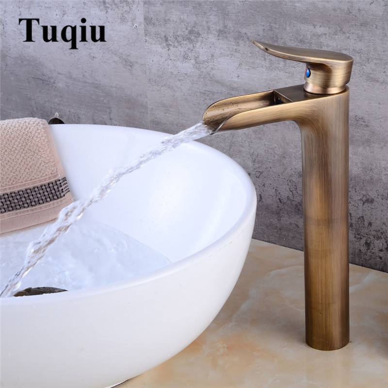 Antique Tall Basin Faucets Waterfall Bathroom Faucet Single handle Basin Mixer Tap Bath Antique Faucet Brass Sink Water Crane new bathroom antique brass tall single blue and white porcelain handle basin faucet g 902