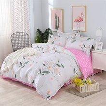Plant Leaves Pattern Pink Duvet Cover Bedding Set Couple Kids Child Bed Linen Single Queen King Size Quilt Comforter Case24(China)
