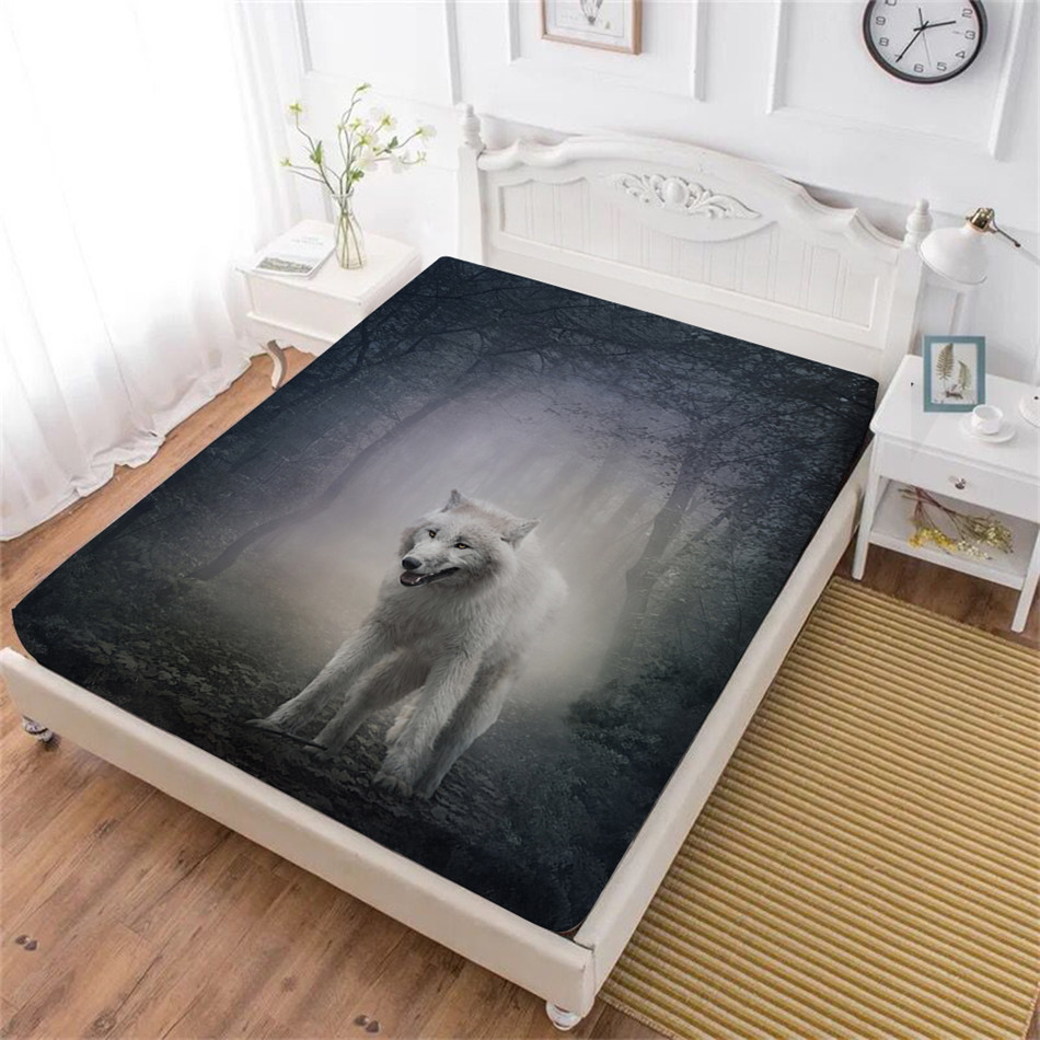 Animal Wolf Bed Sheet Constellation Sheep Print Fitted Sheet Geometric Bedclothes Deep Pocket Mattress Cover Home Decor D25|Sheet| |  - title=