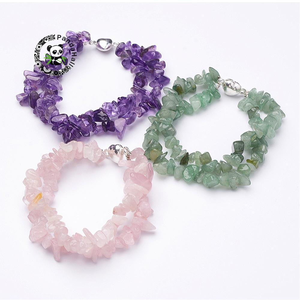 Natural Stone Beaded Multi strand Chip Jewelry Beads Bracelets with Brass Magnetic Clasps Heart Silver 7