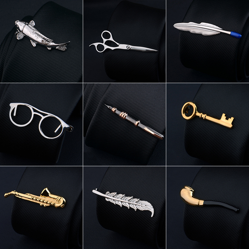 Men's Metal Necktie Bar Crystal Formal Shirt Wedding Ceremony Gold Tie Clip Men's Party Gifts Fashion Tie Clips