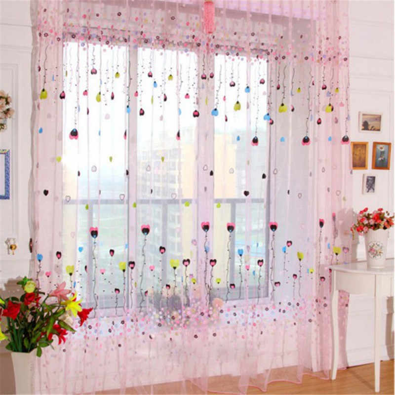 Balloon Pattern Voile Window Curtain Tulle Room Divider Drapes Panel Sheer Scarf Fabrics Curtains for Living Room