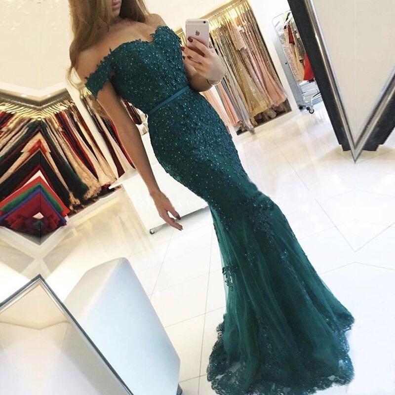 Burgundy Off the Shoulder Long Mermaid Evening Dress 2019 Lace Robe De Soiree longue Formal Dress