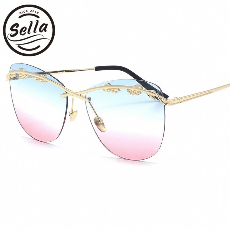 Sella New Fashion Women Oversized Alloy Frame Rimless Tint Lens Sunglasses Popular Ladies Film Coating Wheat Decoration Eyewear