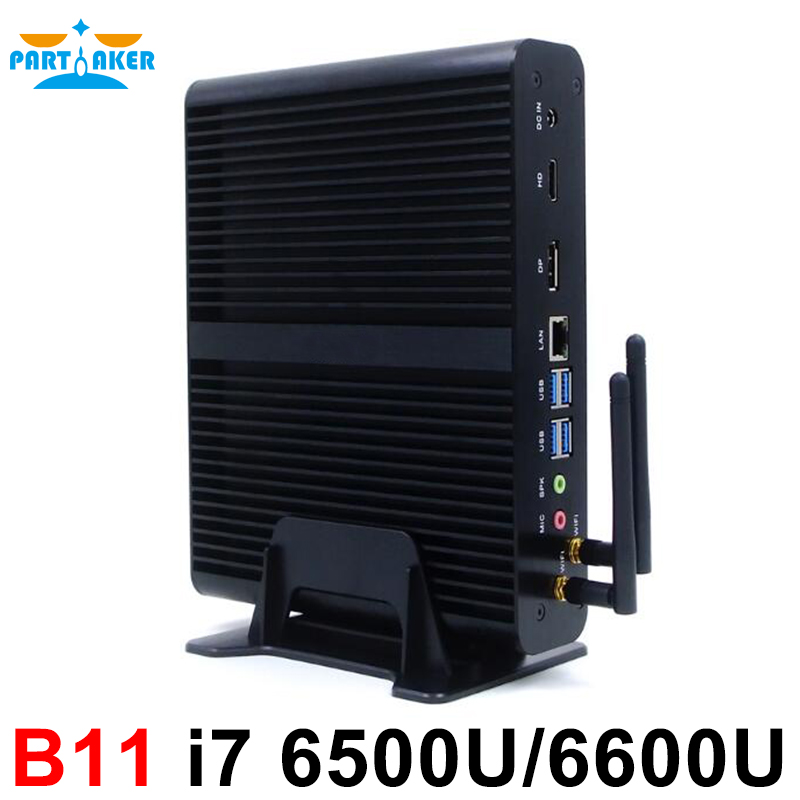 Partaker 4K Mini PC Core I7 6500U 6600U In Stock Skylake 6th Fanless PC Intel CPU
