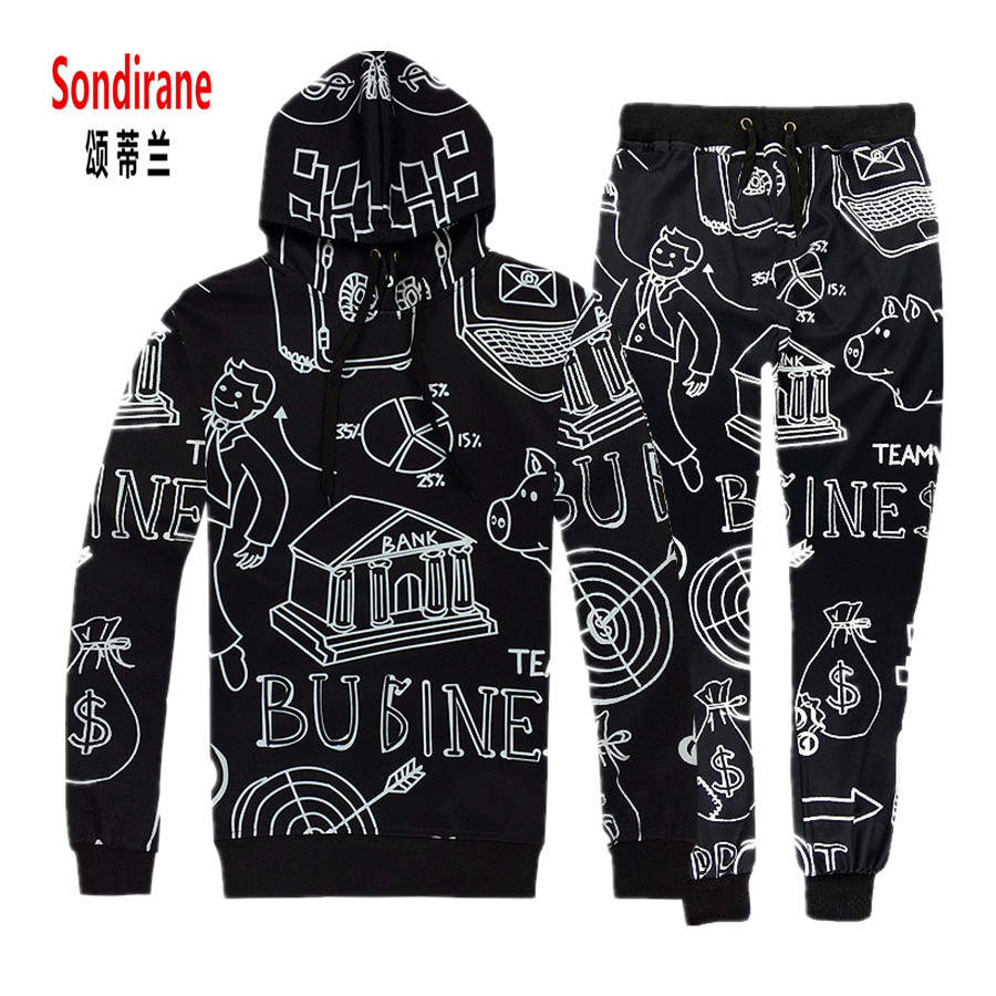 Sondirane New 3D Print Sketch Art Pattern Funny Hoodies/Trousers Hip Hop Casual Jogger Pants Cartoon Drawstring Sweatshirts