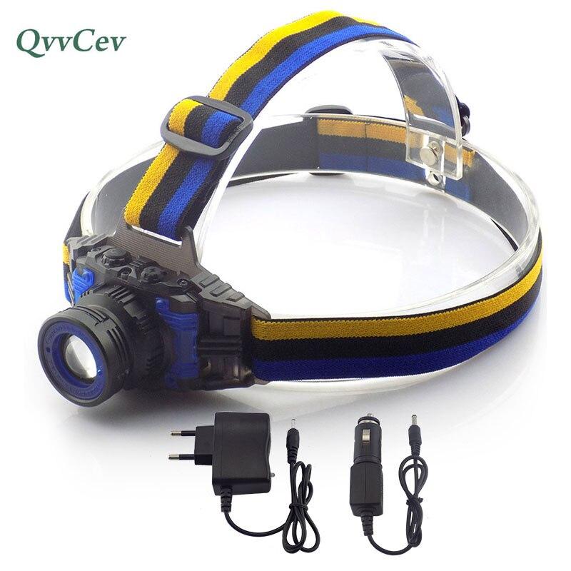Puissant Q5 Led Zoomable point Phare Frontale LED Tête de La Torche lampe de Poche lampe Frontale pour Pêche Chasse + Chargeur