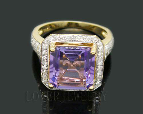 Solid 6.22Ct 14Kt Yellow Gold Diamond Purple Amethyst Engagement Wedding Ring for Wife New Year Fine Jewelry Gift lovely yellow sapphire earring charming diamond engagement fine jewelry for wife birthday anniversary gift
