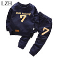 LZH 2017 Spring Autumn Baby Boys Girls Clothes Letters Printing T-shirt+Pants Kids Boys Tracksuit Korean Children Clothing Sets