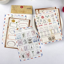 6pcs/lot vintage stamp paper sticker DIY decoration iary scrapbooking label kawaii stationery