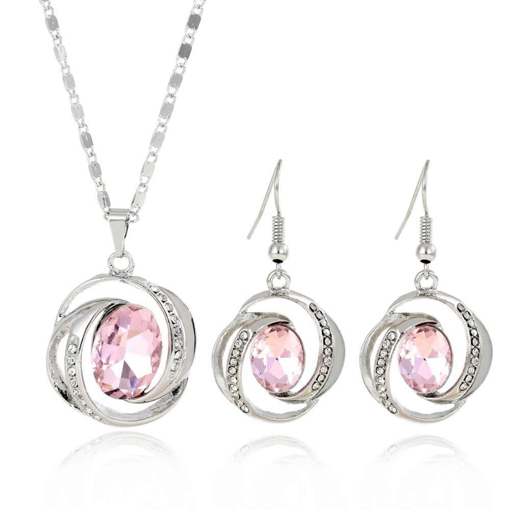 ZOSHI Charming Women Cubic Zirconia Jewelry Sets Silver Plated Chain Austrian Crystal Round Pendant Necklace Drop Earrings Sets