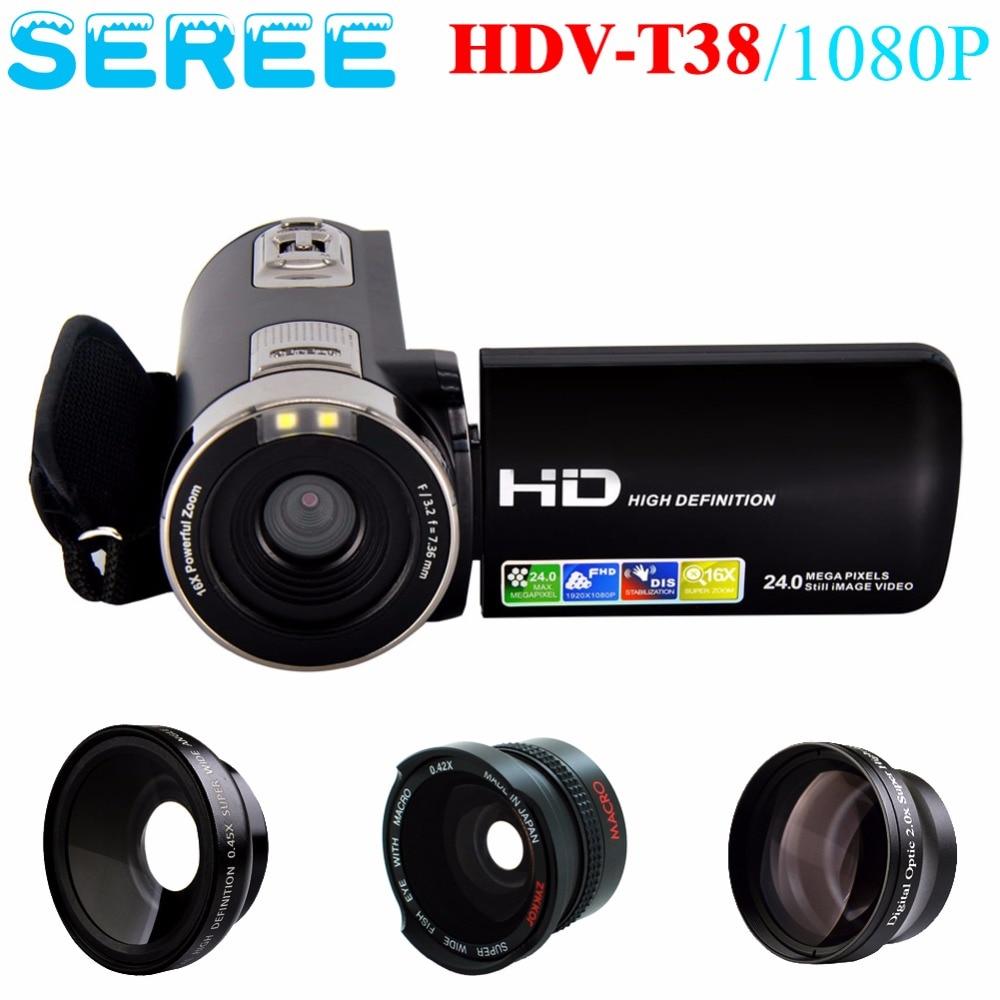 SHENZHEN SEREE01 INTELLIGENT CO,.1LTD Store Seree FHD 1080P Digital Video Camcorder Wide Angle Macro Fisheye Shooting 24MP 2.7 Inch Screen 16X Digital Room Remote Camera