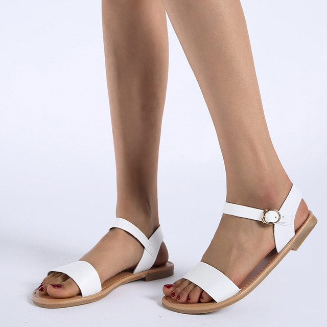 SAGACE Women's Sandals Solid Color PU Leather Sandals Women Fashion Rome Style Summer Women Shoes Women Shoes 2019 Sandals941024