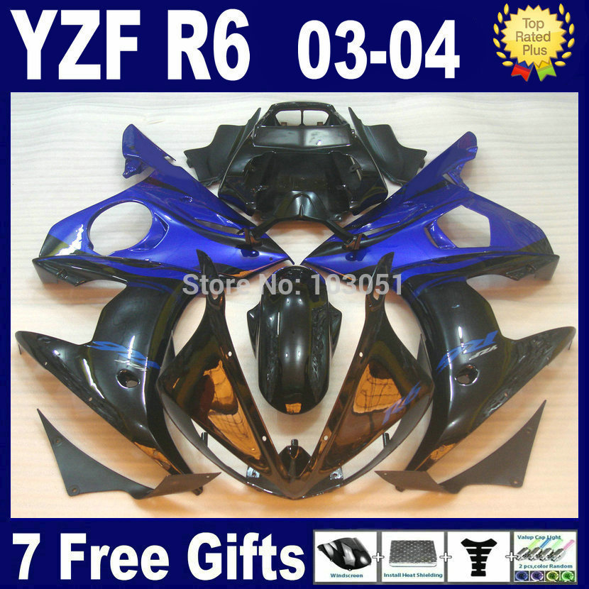 Customize Road race fairing kits For Yamaha YZFR6 03 04 05 dark blue plastics YZF R6 2003 2004 2005  aftermarket moto Fairings p mfs motor motorcycle part front rear brake discs rotor for yamaha yzf r6 2003 2004 2005 yzfr6 03 04 05 gold