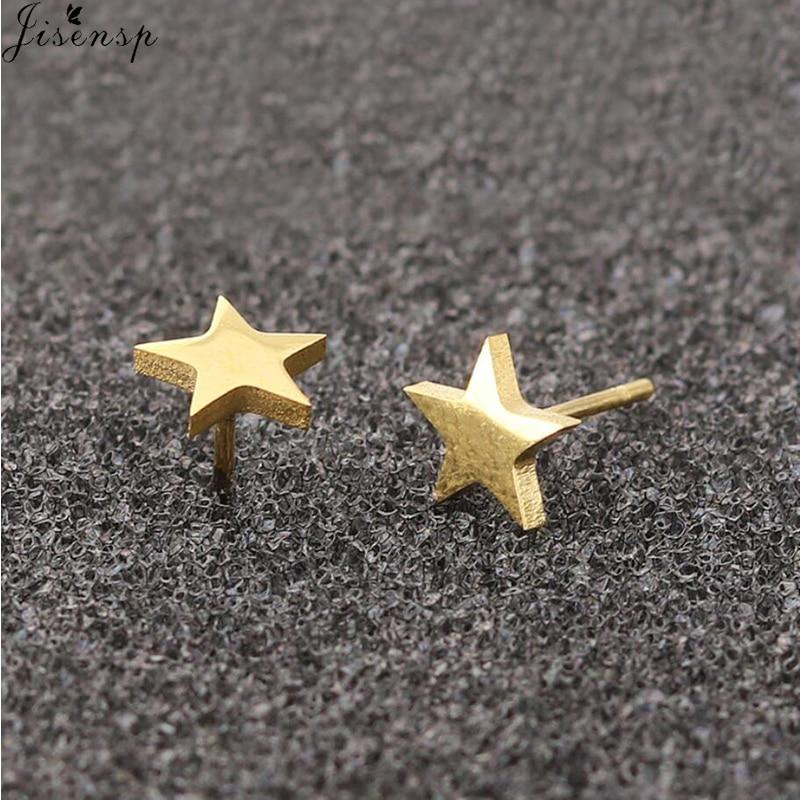 Jisensp Brincos Star Earrings Punk Stud Earring Black Earings Stainless Steel Earrings For Women Statement Jewelry Wholesale