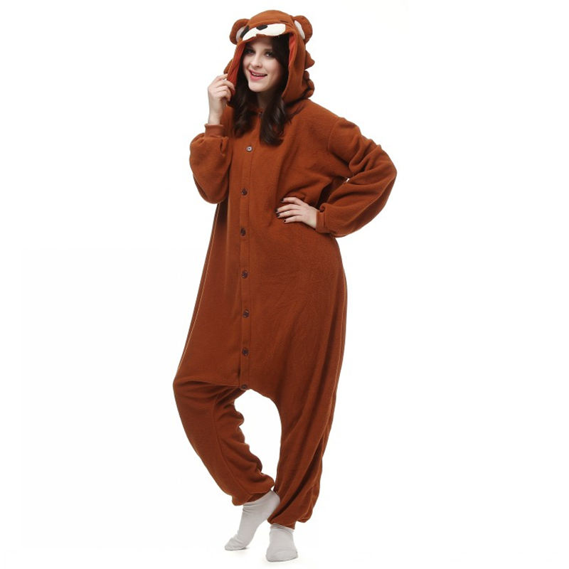Well Made Good Quality Brown Pedo Bear Cute Little Bear Pedobear Soft Pajama Anime Cosplay Costume Unisex Adult Onesie Sleepwear