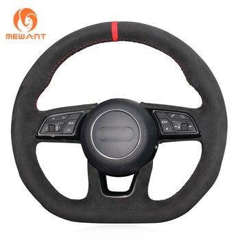 MEWANT Black Suede Car Steering Wheel Cover for Audi A3 (8V) A4 (B9) Avant A5 (F5) A1 (8X) Sportback Q2 2016-2019