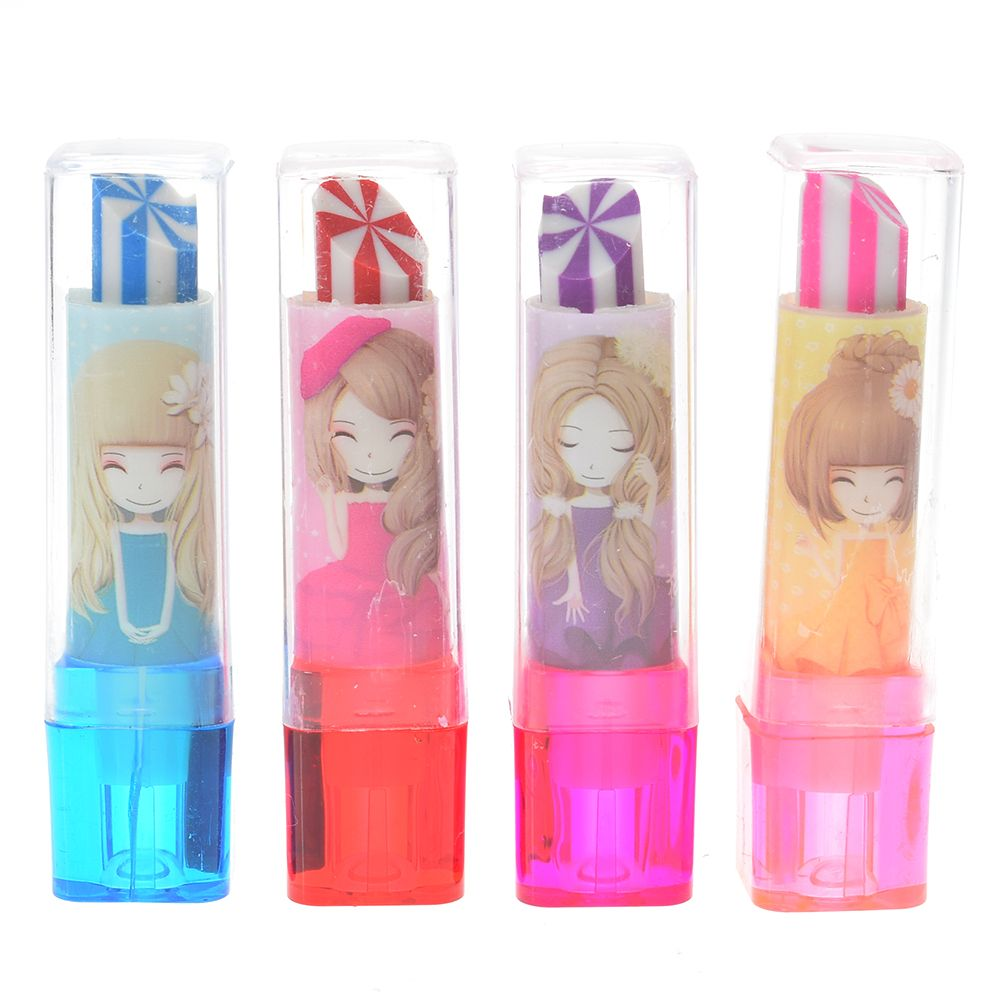 1PCS Colorful Cute Lipstick Shape Rotary Rubber Eraser Stationery Pencil Kids Students Gift School Office Stationery
