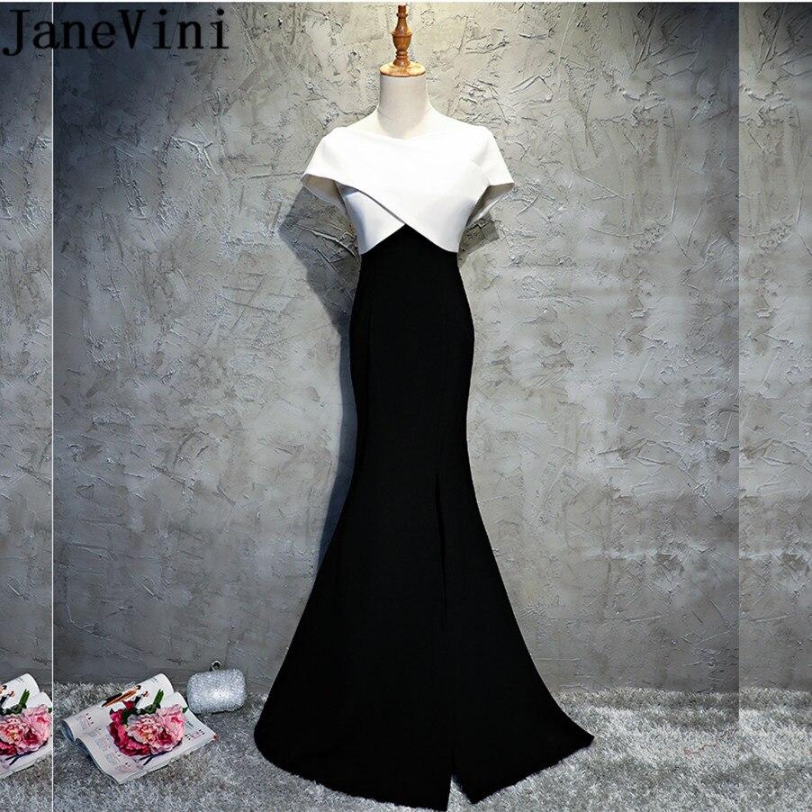 US $16.16 16% OFFJaneVini Weiß Und Schwarz Abend Lange Kleider Elegante  Seite Split Meerjungfrau Mutter der Braut Kleider 21618 Satin Gala Dinner