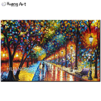100%Handmade Modern Palette Knife Park Street Oil Painting On Canvas Art Pictures For Room Decor Wall Paintings No Frame 60x90cm