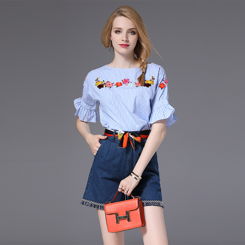 High Quality 2017 Designer Runway Suit Set font b Womens b font 2 Piece Striped Shirt