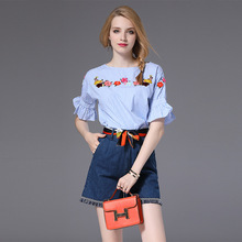 High Quality 2017 Designer Runway Suit Set Womens 2 Piece Striped Shirt Tops + Denim Shorts Streetwear Office Clothing Sexy Suit