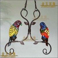 Тиффани творческая желтая птица попугай подвесной светильник ребенок Спальня лампы для балкона открытый украшения дома комнаты малыша осв
