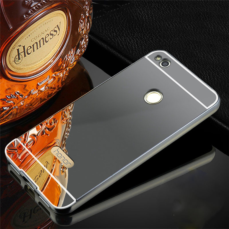 Mirror Case For Huawei Honor 8 Lite Case Aluminum Metal Bumper Plastic Back Cover Coque For Huawei P8 Lite 2017 Phone Cases Gold