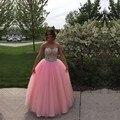 Alta Qualidade Rosa Vestidos Quinceanera Debutante vestido de Baile Frisada de Cristal Elegante Longo 15 Anos Vestido Sweet Sixteen Vestidos