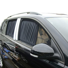 2×70 cm 70L Hochwertige Auto Fenster Vorhang Einziehbare Automatische Volant Sonnenschirm UV Sonnencreme Auto Vorhang Schwarz