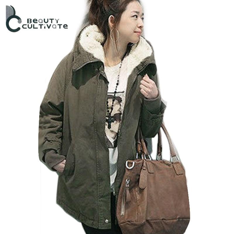 Kadınlar Kış Ceket Ceket Büyük Kürk Yaka Ordu Yeşil kalın gevşek Rahat Palto Pamuk-yastıklı Giyim