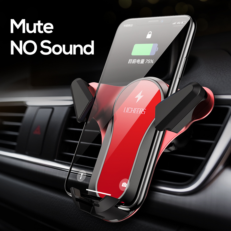 10W Qi Wireless Car Charger Holder For IPhone XS X 8 Fast Charging For Xiaomi Samsung Galaxy S9 S10 Car Phone Holder Charger