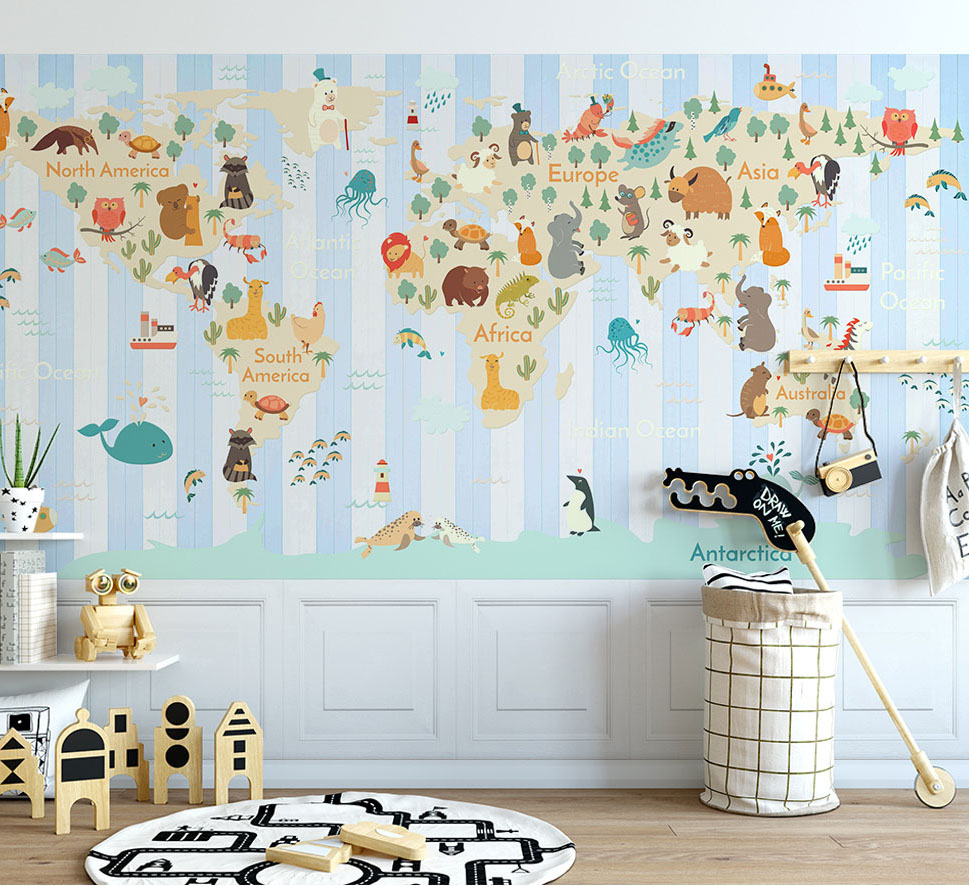 US $18 0 3D Kartun Peta Worldp Wallpaper Dinding Seni Lukisan Dinding Ruang Tamu Kamar Tidur Kertas Dinding Mural Hewan Hutan Wallpaper Kamar