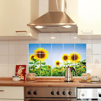 Kitchen Decor Oil Proof Aluminum Foil Wall Sticker Paper Sunflower Cover Uk China