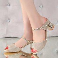 D H Woman Shoes 17 Summer Tassel Flock Women Sandals Fringe Sandal Heels Thick High
