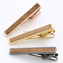 2016 New High quality Tie Bar Wood For Men's Tie clips High-grade hedgehog sandalwood Mens Business Wedding Tie Clip&Cuff links