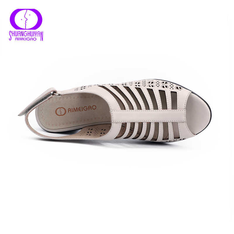 AIMEIGAO Hohe Qualität Peep Toe Frauen Gladiator Sandalen High Heels Schuhe Dicken Absätzen Sommer Weichem Leder Komfortable Frauen Schuhe