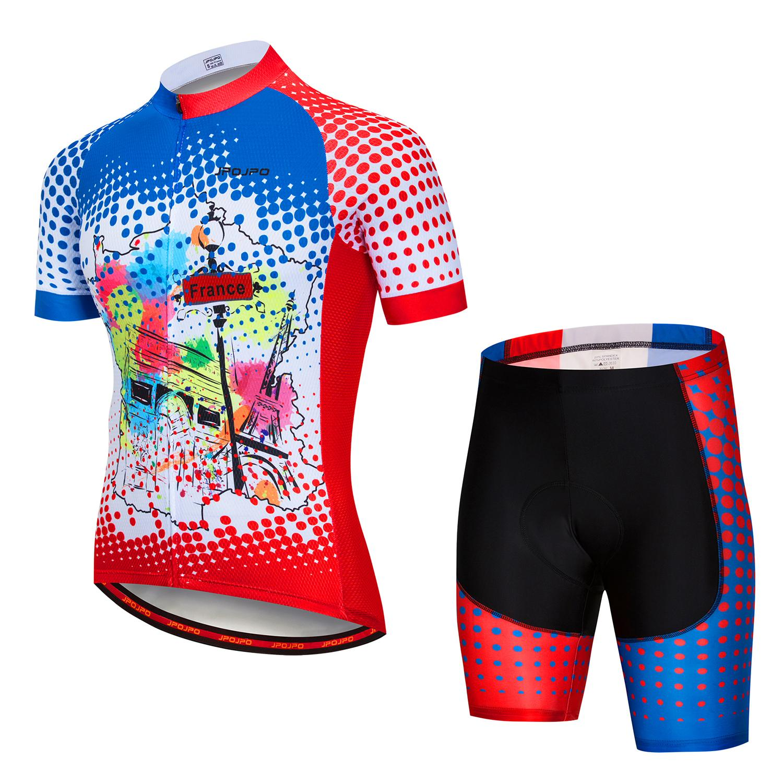 JPOJPO été cyclisme Jersey USA équipe vêtements ensembles vélo vêtements Pro vtt Ropa ciclismo manches courtes vélo jersey ensemble
