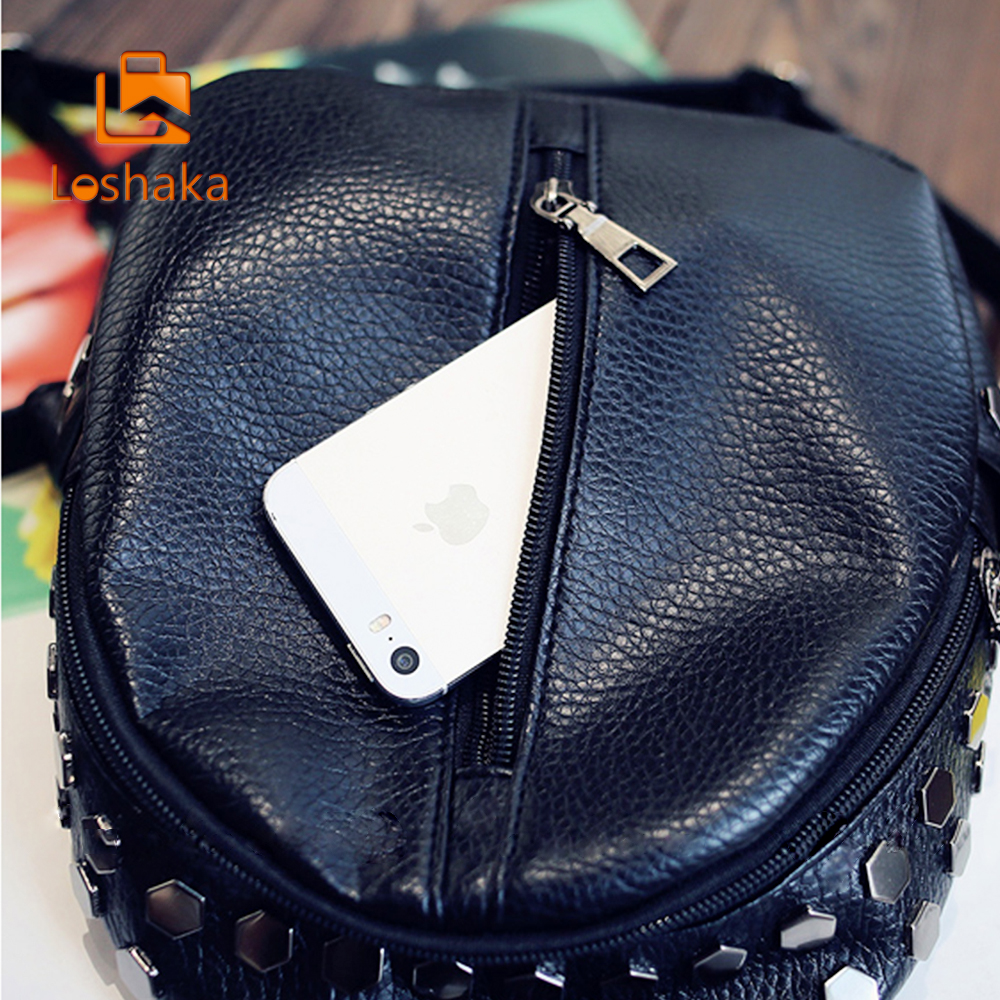Loshaka Small Women Backpacks Rivet Zipper Pu Leather Student Backpack Preppy Fashion Bag Girls Women's Backpack #5