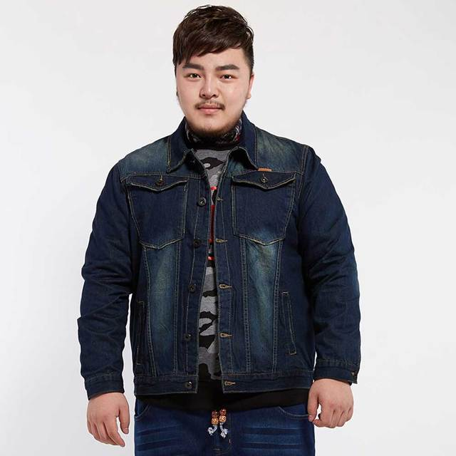 386e2069451 Large Plus Size Mens Distressed Denim Jacket Autumn Winter Outerwear  Trucker Dark Blue Male Jeans Jacket Masculino DJ7800