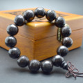15mm Black Sandalwood Carved Lotus and Buddha Round Beads Mala Bracelets Buddhist Jewelry