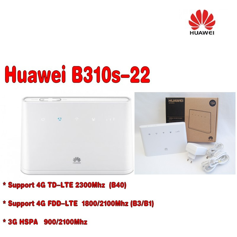 White Huawei B310S-22 High Speed LTE Cat4 150Mbps 4G Wireless Gateway  +a pair antenna comfast full gigabit core gateway ac gateway controller mt7621 wifi project manager with 4 1000mbps wan lan port 880mhz cf ac200