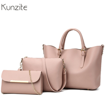 bff3538337 3Pcs Sets Women Handbags Leather Shoulder Bags Female Large Capacity Casual Tote  Bag Bucket Purses