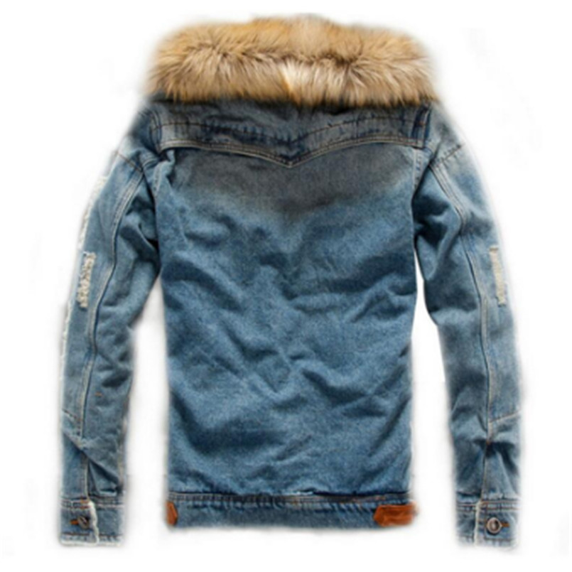 Image 2 - drop shipping 2018 new men jeans jacket and coats denim thick warm winter outwear S 4XL LBZ21-in Jackets from Men's Clothing