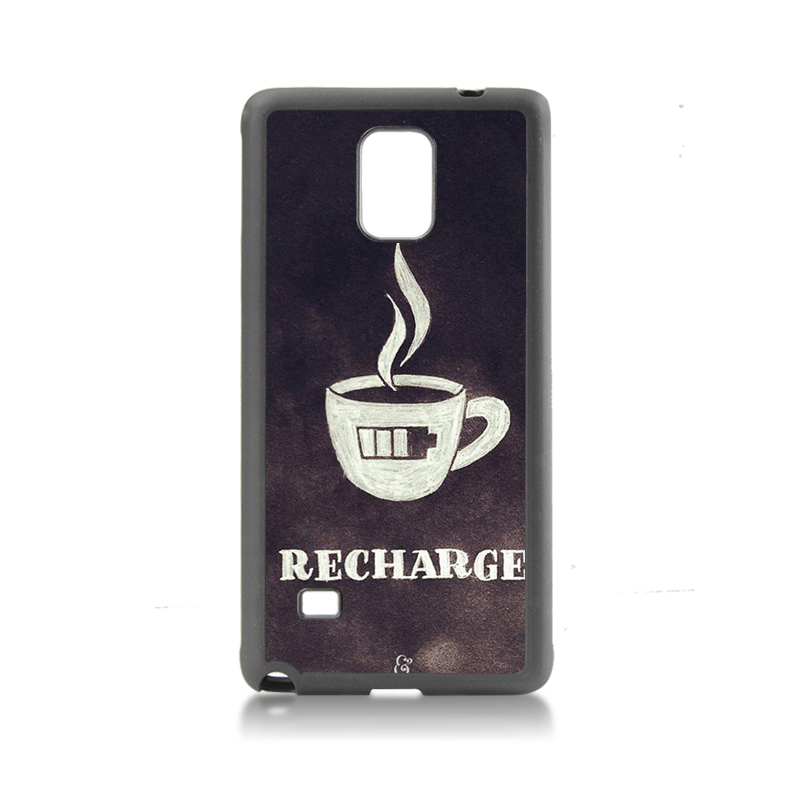 On Sale Luxury Cool tpu soft black phone Accessories Charge coffee low battery For case GALAXY note4