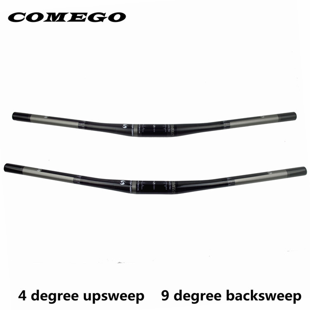 Comego Full Carbon Fiber Bicycle Handlebar Mtb Bar Bicycle Accessories Flat  31.8*690/720mm 4 Upsweep  9backsweep