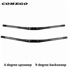 Comego フルカーボンファイバー自転車ハンドルバー mtb バー自転車アクセサリーフラット 31.8*690/720 ミリメートル 4 upsweep 9backsweep自転車ハンドルバー