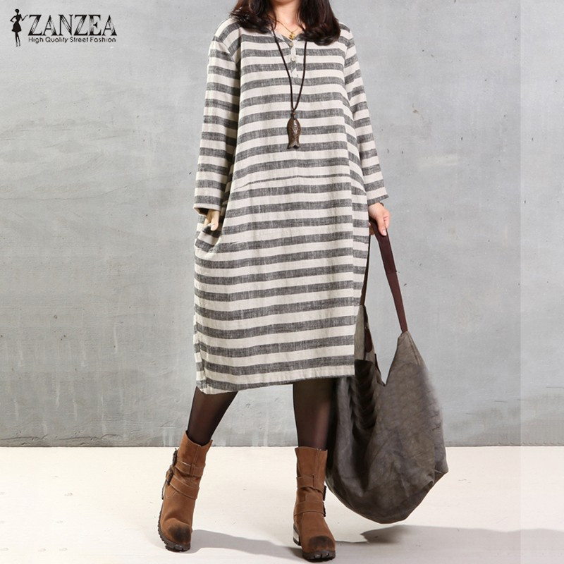 ZANZEA Women Dress 2016 Autumn Casual Loose Vintage Stripe Dresses V Neck Long Sleeve Mid-Calf Cotton Vestidos Plus Size