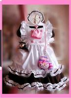 Original Design Cute Girls Japanese Maid Dress Tie Uniform Style Pockets Lolita Cosplay Costume